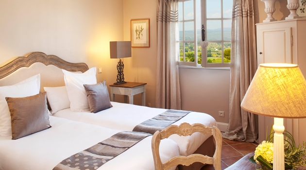 Bedroom of hotel in Provence