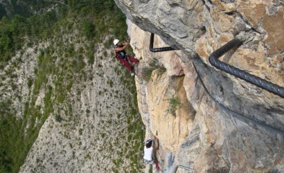 Heading up on Verdon via ferrata